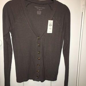 Grey Ribbed Long Sleeve